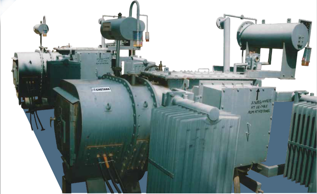 Transformers with built in stabilizers on load tap changer with remote tap changer cubicle and automatic voltage Relay.